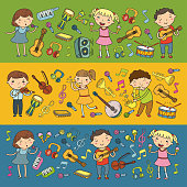 Children singing songs, playing musical instruments Kindergarten Music school for kids Doodle icon collection Illustration for children music lessons