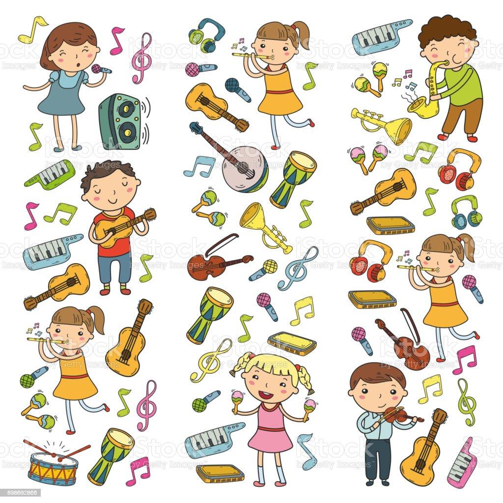 Music School For Kids Vector Illustration Children Singing ...