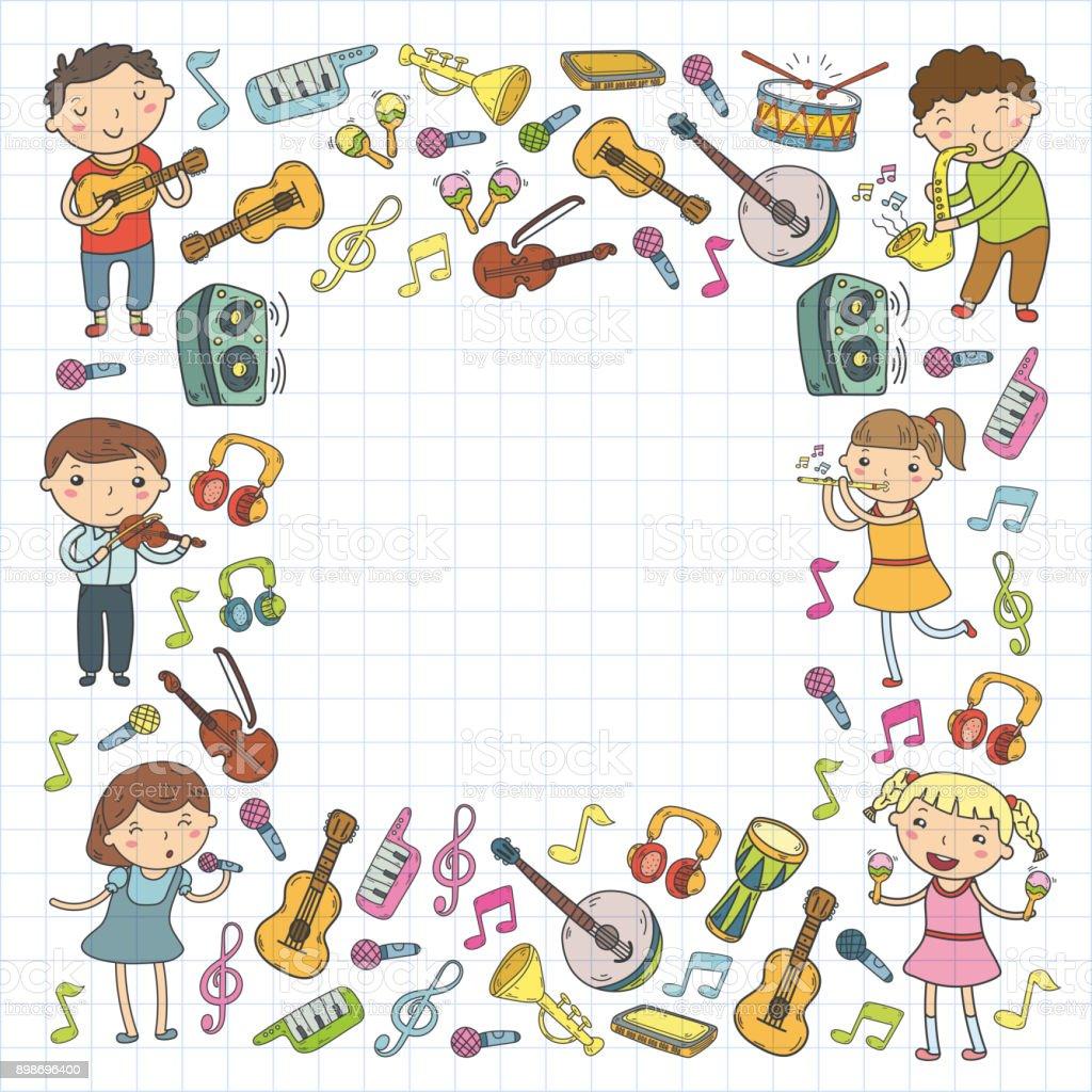 Ilustración De Música De La Escuela De Ilustración Vectorial De Niños Los Niños Cantando Tocando Instrumentos Musicales Colección De Iconos De