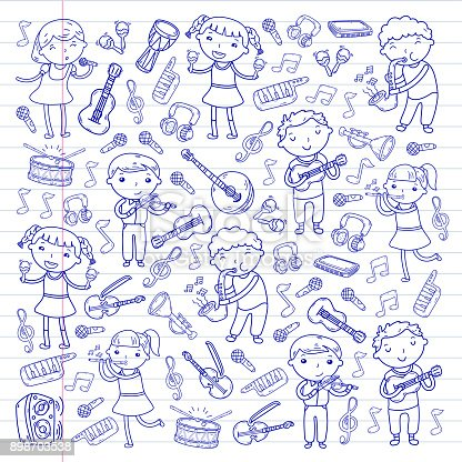istock Music school for kids Vector illustration Children singing songs, playing musical instruments Kindergarten Doodle icon collection Illustration for children music lesson 898703538