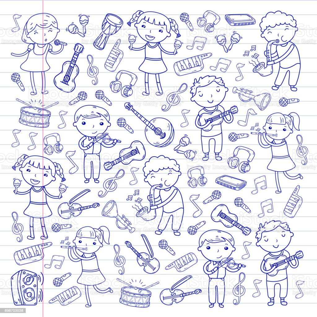 Music school for kids Vector illustration Children singing songs, playing musical instruments Kindergarten Doodle icon collection Illustration for children music lesson vector art illustration