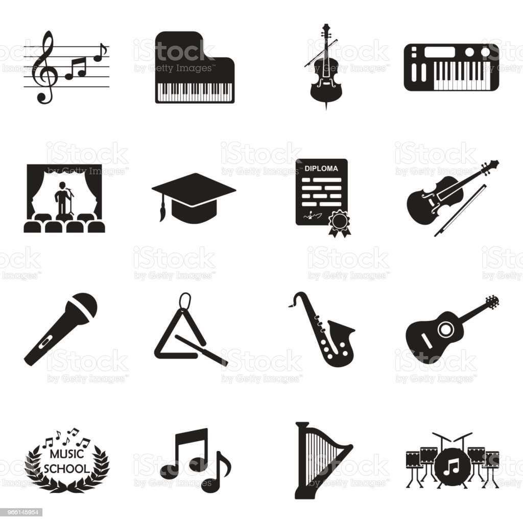 Music School Icons. Black Flat Design. Vector Illustration. - Royalty-free Acoustic Guitar stock vector