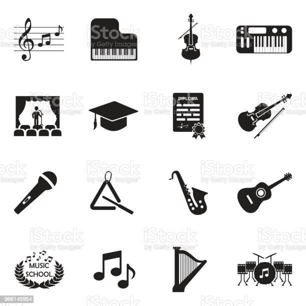 Musikschule Icons Schwarze Flache Bauweise Vektorillustration Stock Vektor Art und mehr Bilder von Akustikgitarre