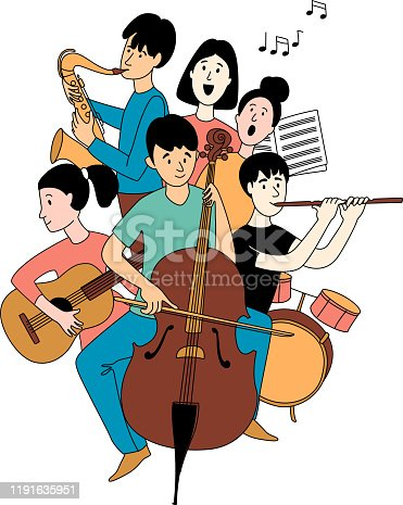 Music school orchestra concert with students different musical instruments guitar, flute, cello, saxophone in line art poster clipart. Vector illustration doodles in linear simple style. Black white