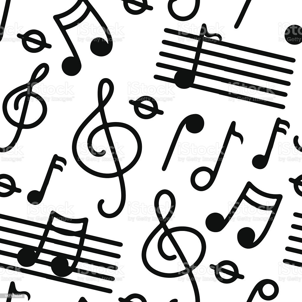 Music seamless pattern in black and white royalty-free stock vector art