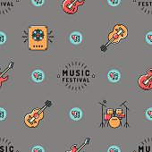 Music seamless pattern, Rock Festival wallpaper, line art minimal design