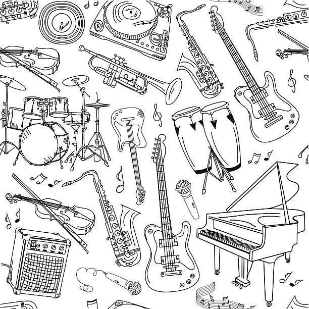 Music seamless pattern vector art illustration