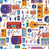 modern colorful seamless music pattern, vector artwork