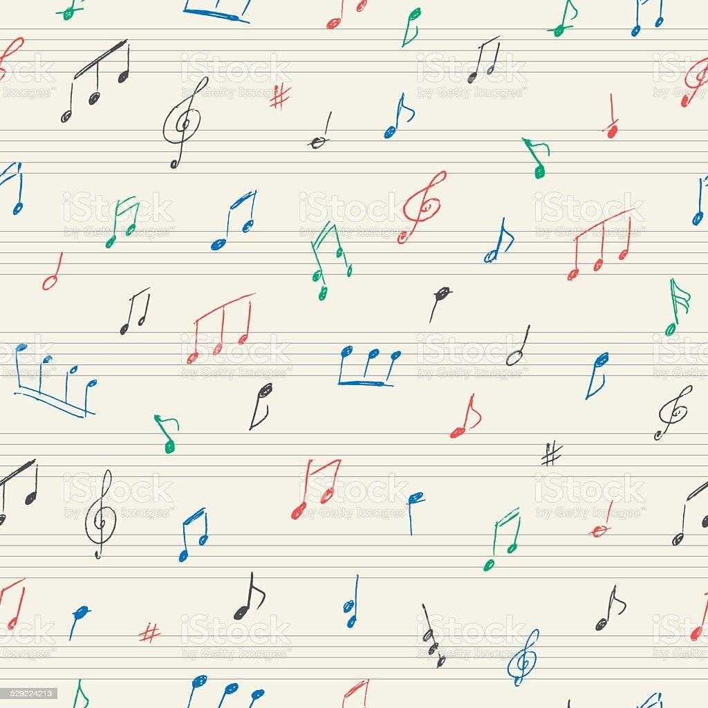 Ilustración de Patrón Sin Costuras De Música Con Notas Musicales ...