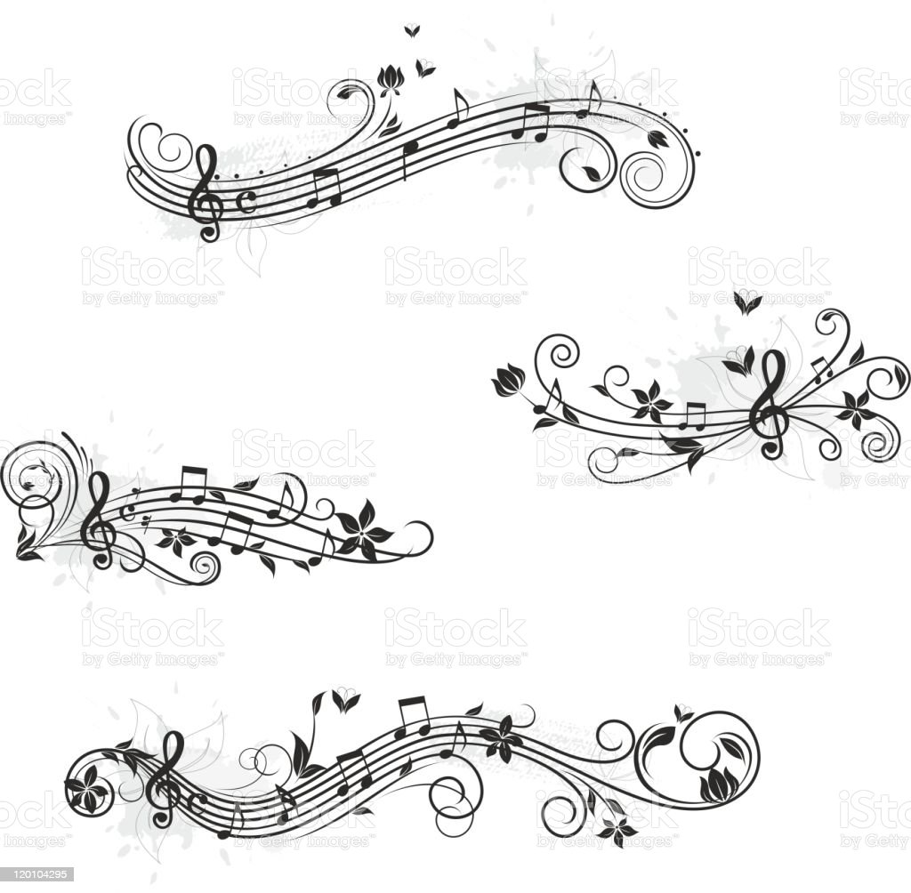 Music set of design elements vector art illustration