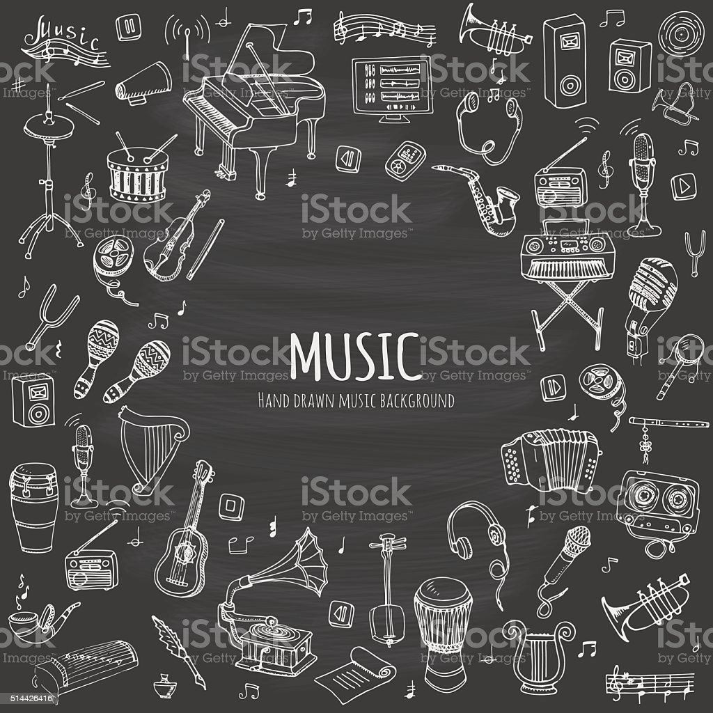 Music set vector art illustration