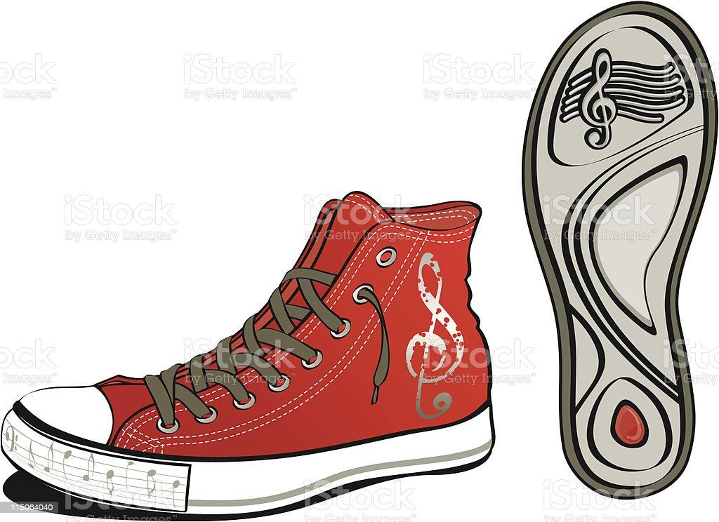 Music shoe vector art illustration