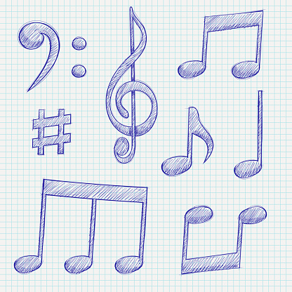 Music signs. Blue notes and symbols on lined paper background