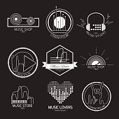 Set of vector music signs. Recording studios and radio badges. Vintage emblems with sample text.