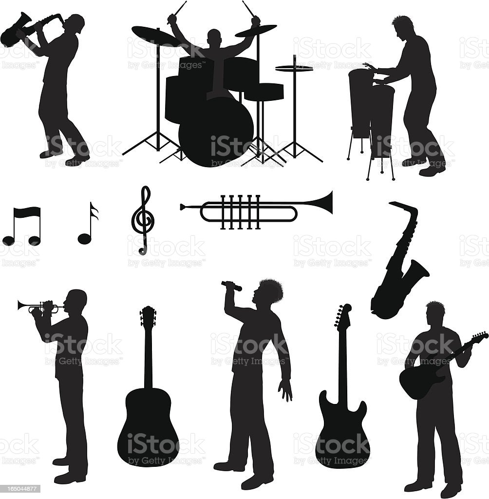 Music Silhouette Collection (vector+jpg) royalty-free stock vector art
