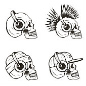 Music skull side view set, vector hand drawn illustration isolated on white background. Human skull with iroquois, wearing hat and cap listening to music using headphones.