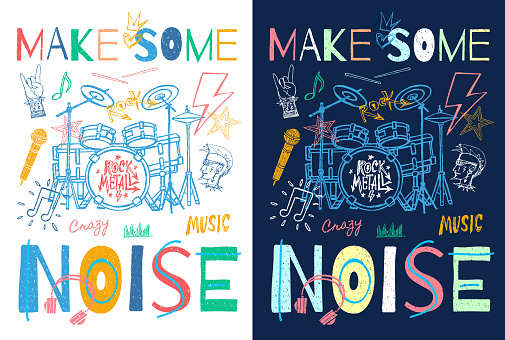 Music slogan graphic for t shirt design posters retro prints. Radio, headphones, microphone, notes, rock and roll, musical party. Hand drawn vector illustration.
