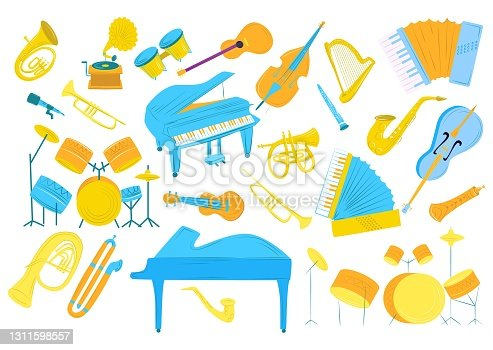 istock Music sound by drums, guitar, trumpet vector illustration. Musical instrument set, cartoon violin, saxophone, piano collection. Acoustic orchestra 1311598557