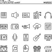 Music, sound, recording, editing and more, thin line icons set, vector illustration