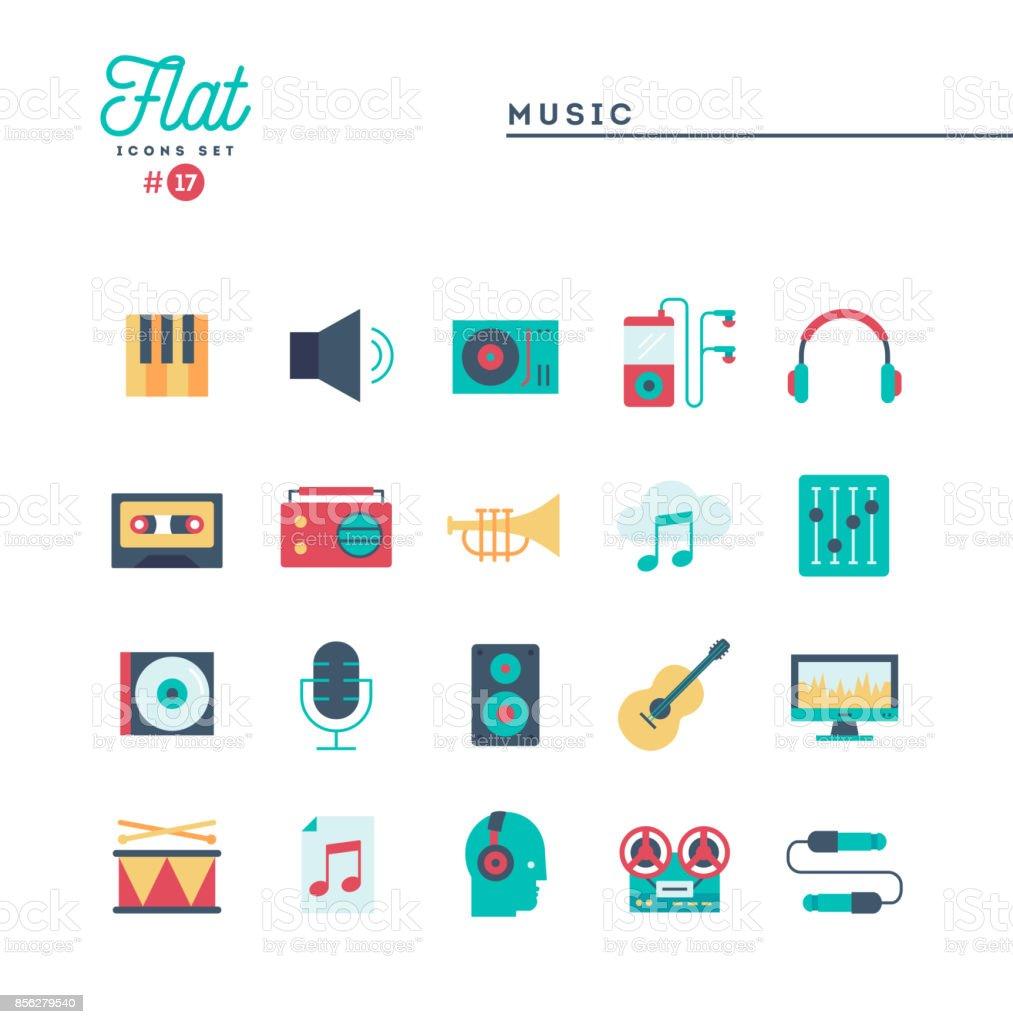 音楽、サウンド、技術および詳細、フラット アイコン セット ベクターアートイラスト