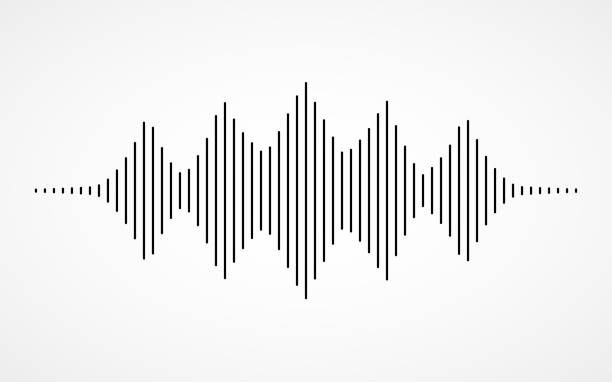 music sound waves on white background - sound wave stock illustrations, clip art, cartoons, & icons