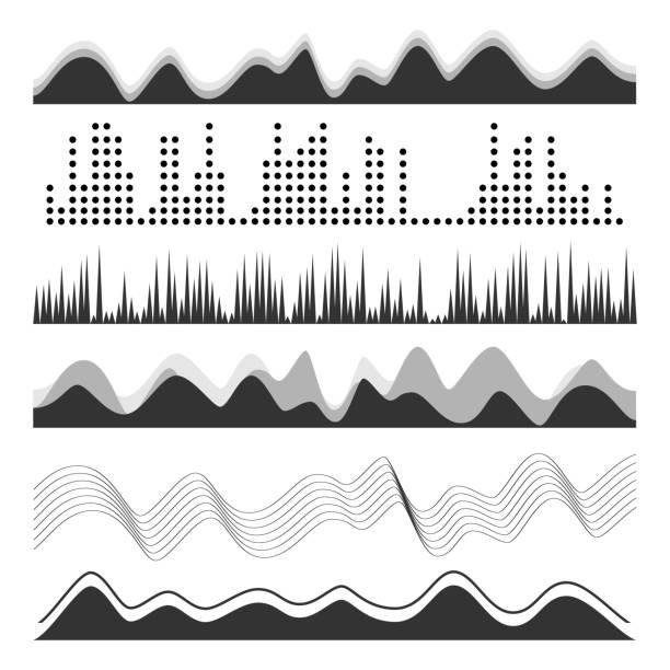 """musik-sound """"wellenlinien"""" pulse abstrakte vektor. digitale frequenz track equalizer illustration - sound wave grafiken stock-grafiken, -clipart, -cartoons und -symbole"""