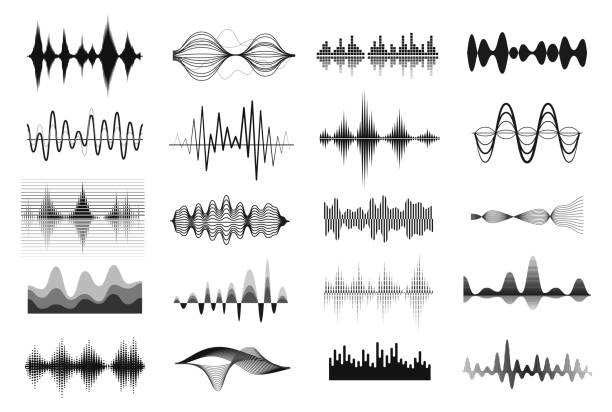 Music sound waves Music sound waves. Vibrations showing a sound, pattern of disturbance in black and white. Vector line art illustration on white background electrical equipment stock illustrations