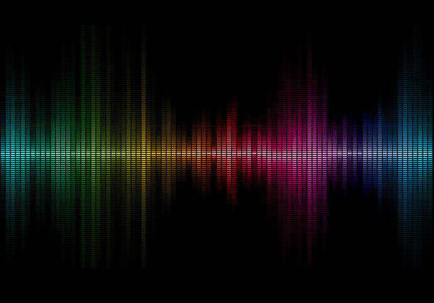 music sound waves Disco rainbow colored music sound waves for equalizer or waveform design, vector illustration of musical pulse sound mixer stock illustrations