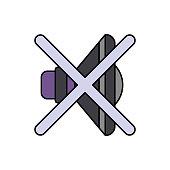 Music, speaker, mute icon. Element of color music studio equipment icon. Premium quality graphic design icon. Signs and symbols collection icon