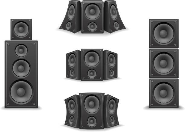Music Speaker Twisted Isolated 3d Realistic Icons Set Design Vector Illustration vector art illustration