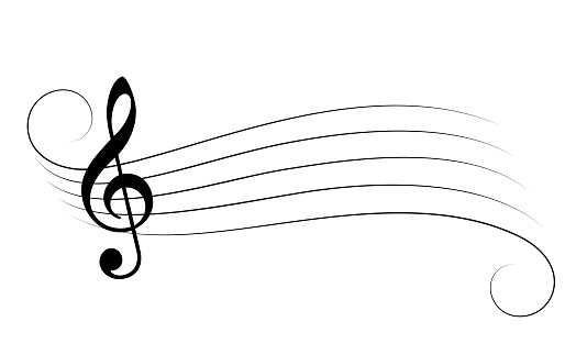 Music staff and treble clef vector cartoon