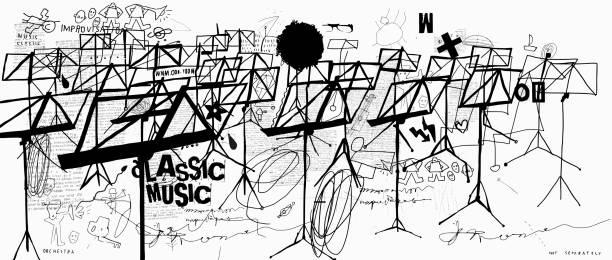 Music stands vector art illustration