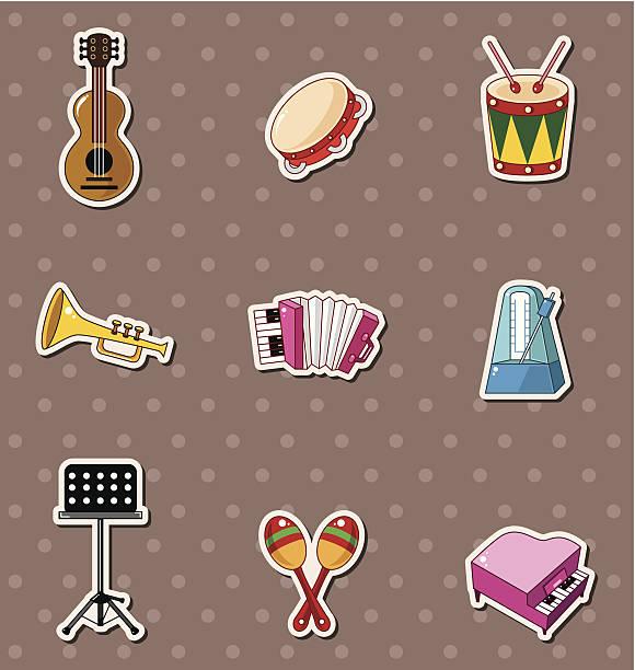 ilustrações, clipart, desenhos animados e ícones de adesivos de música - pandeiro