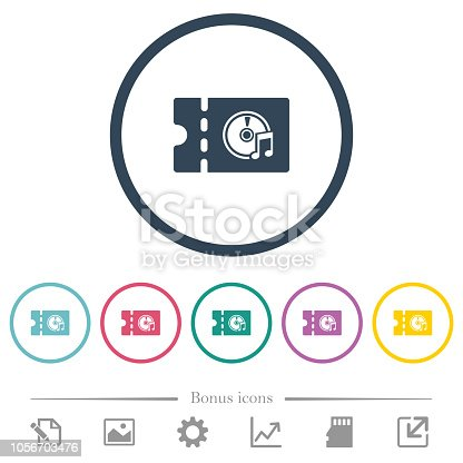 istock Music store discount coupon flat color icons in round outlines 1056703476