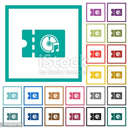 istock Music store discount coupon flat color icons with quadrant frames 1043026106
