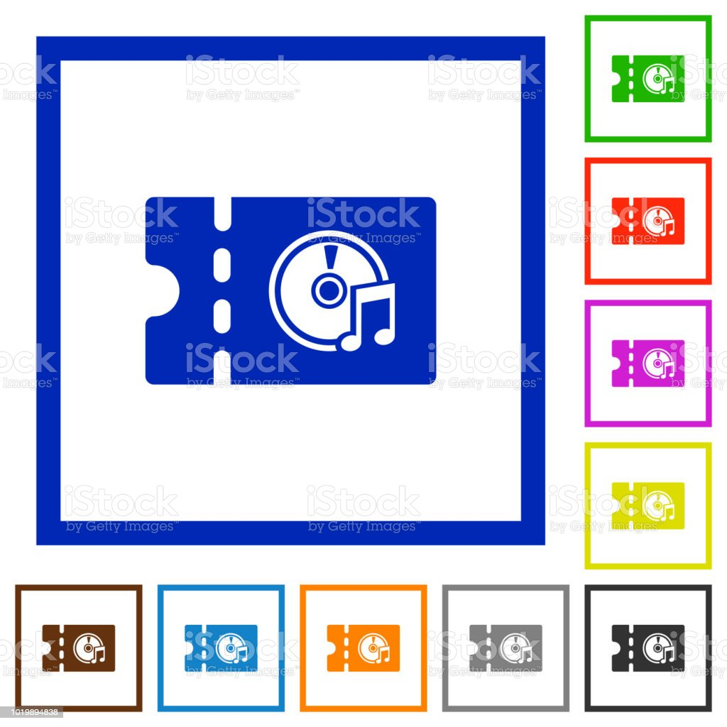 Music Store Discount Coupon Flat Framed Icons Stock Vector Art ...
