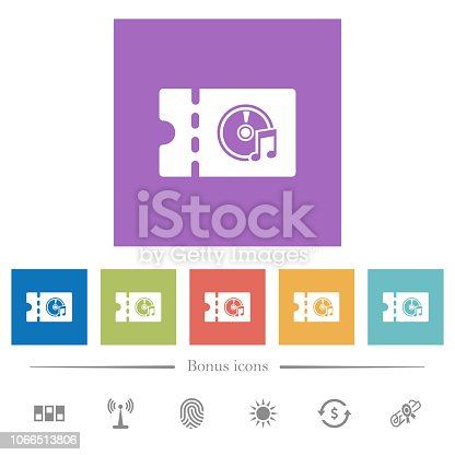 istock Music store discount coupon flat white icons in square backgrounds 1066513806