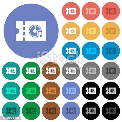 istock Music store discount coupon round flat multi colored icons 1045866588