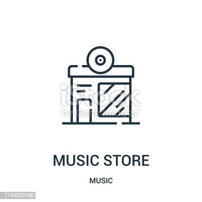 istock music store icon vector from music collection. Thin line music store outline icon vector illustration. 1144522100