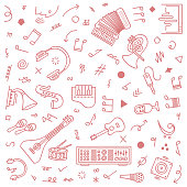 Cute hand-drawn music streaming doodles, and seamless pattern for fashion design, branding, web images, packaging, decor, etc.