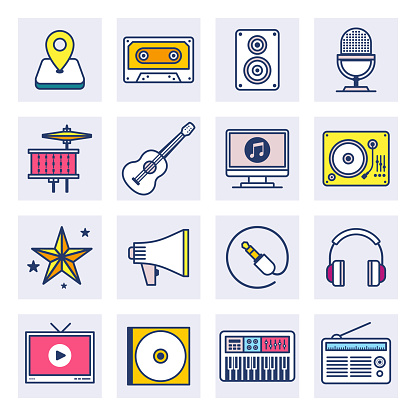Music Streaming Services Flat Line Style Vector Icon Set