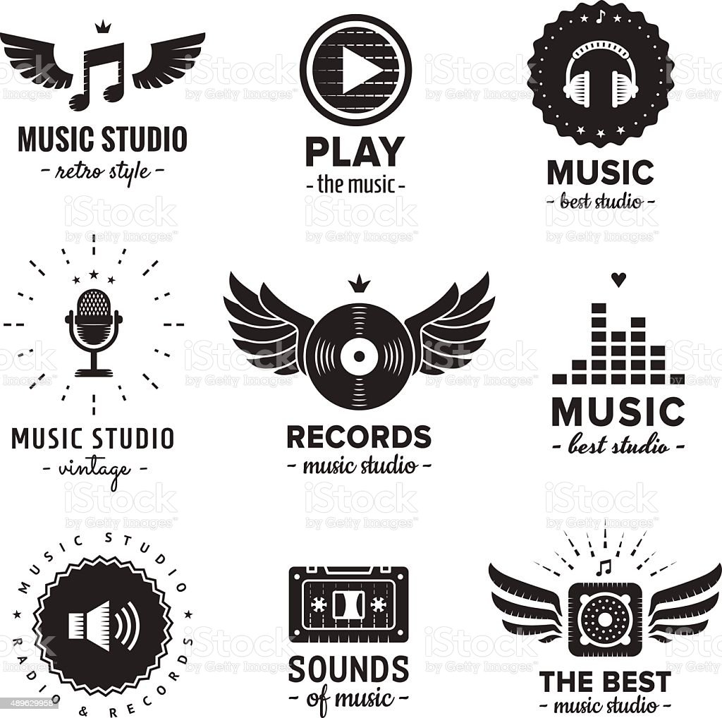 Music studio and radio logos vintage vector set. vector art illustration