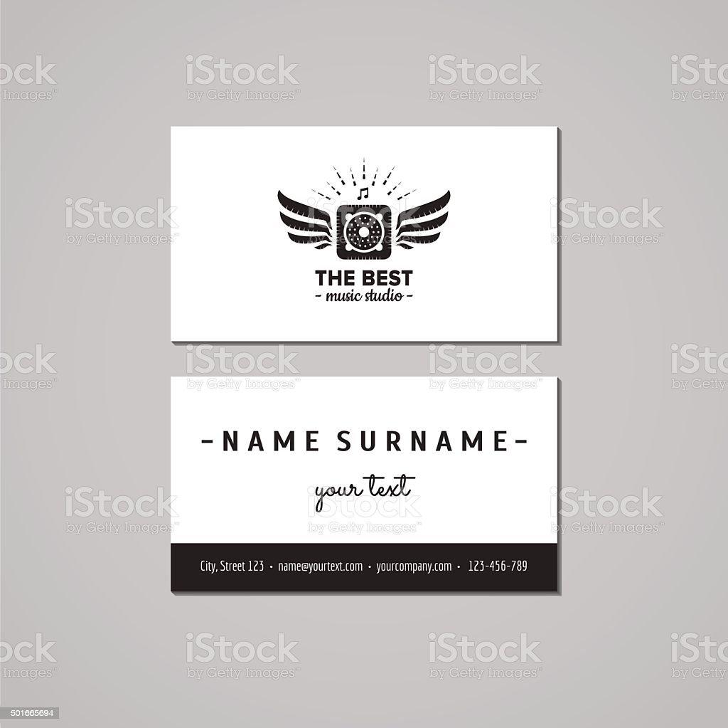 Music Studio Business Card Design Concept Logo With Music Speaker ...