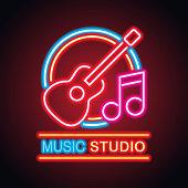 music studio neon sign for music studio or recording studio plank banner. vector illustration