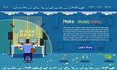 music studio website template blue tone vector illustration eps10