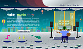 music studio website template silver colorful vector illustration eps10