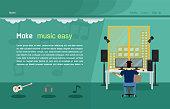 music studio website template vector illustration eps10