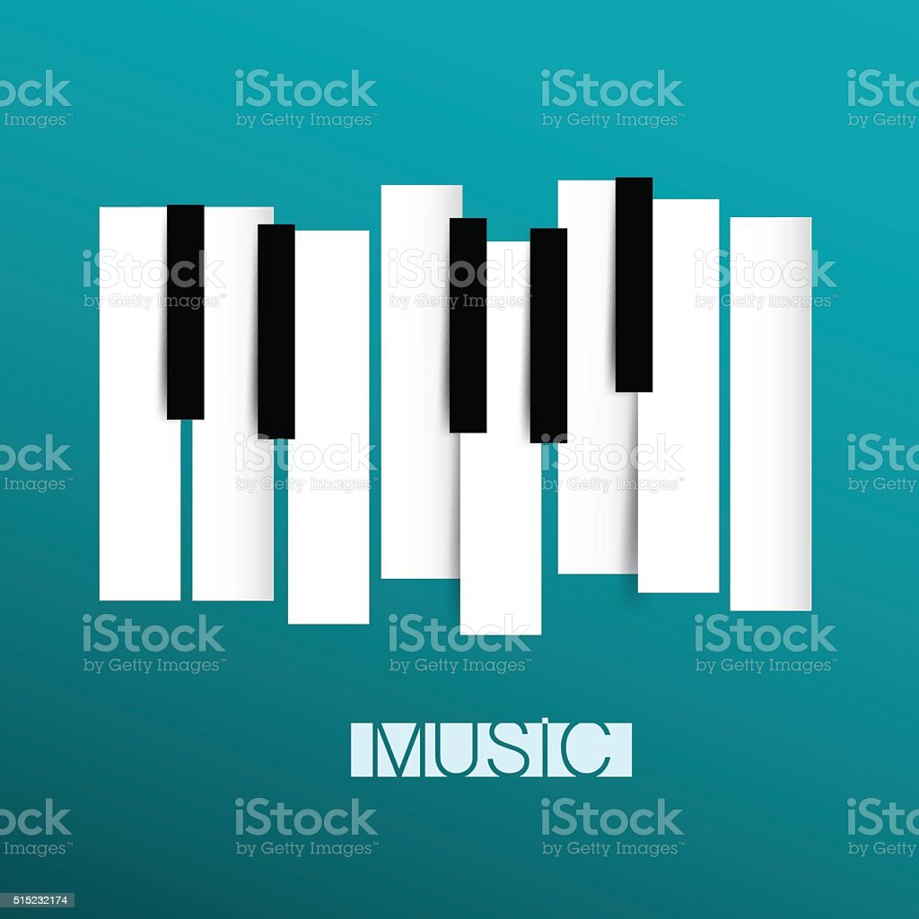 Music Symbol with Piano Keyboards vector art illustration