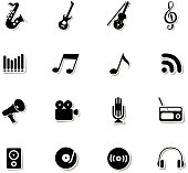 drawn of vector music icon set.