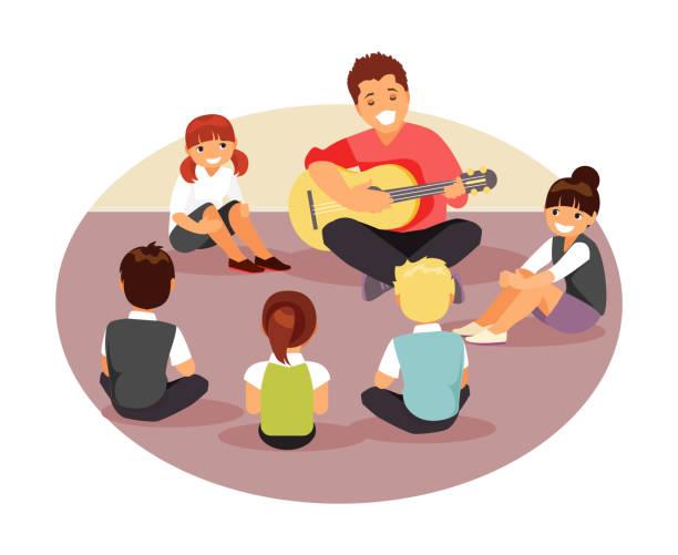 ilustrações, clipart, desenhos animados e ícones de professor de música com crianças - professor de pré escola
